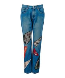 Indigo cotton patch straight jeans