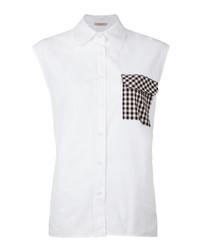 White cotton sleeveless gingham blouse