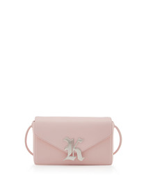 Gothic pink leather clutch bag