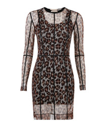 Leopard print sheer sleeve mini dress