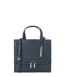 The Gia dark blue leather shoulder bag