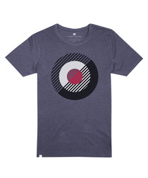 Blue pure cotton motif T-shirt