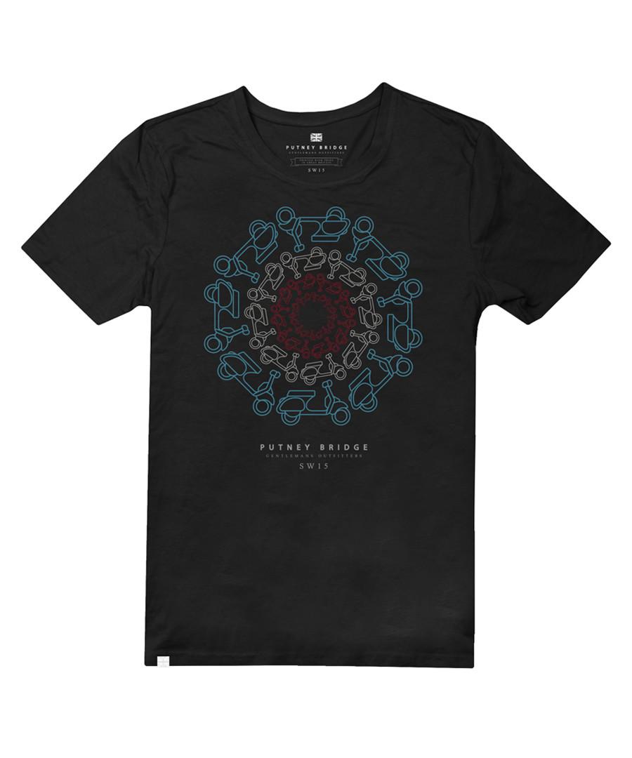 Black pure cotton motif T-shirt Sale - putney bridge