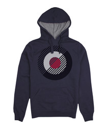 Navy cotton blend logo hoodie