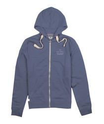 Blue cotton blend zip-up hoodie
