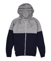 Grey & navy cotton blend hoodie