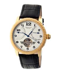 Piccard black moc-croc leather watch