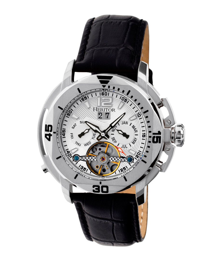 Lennon silver-tone & leather watch Sale - heritor automatic