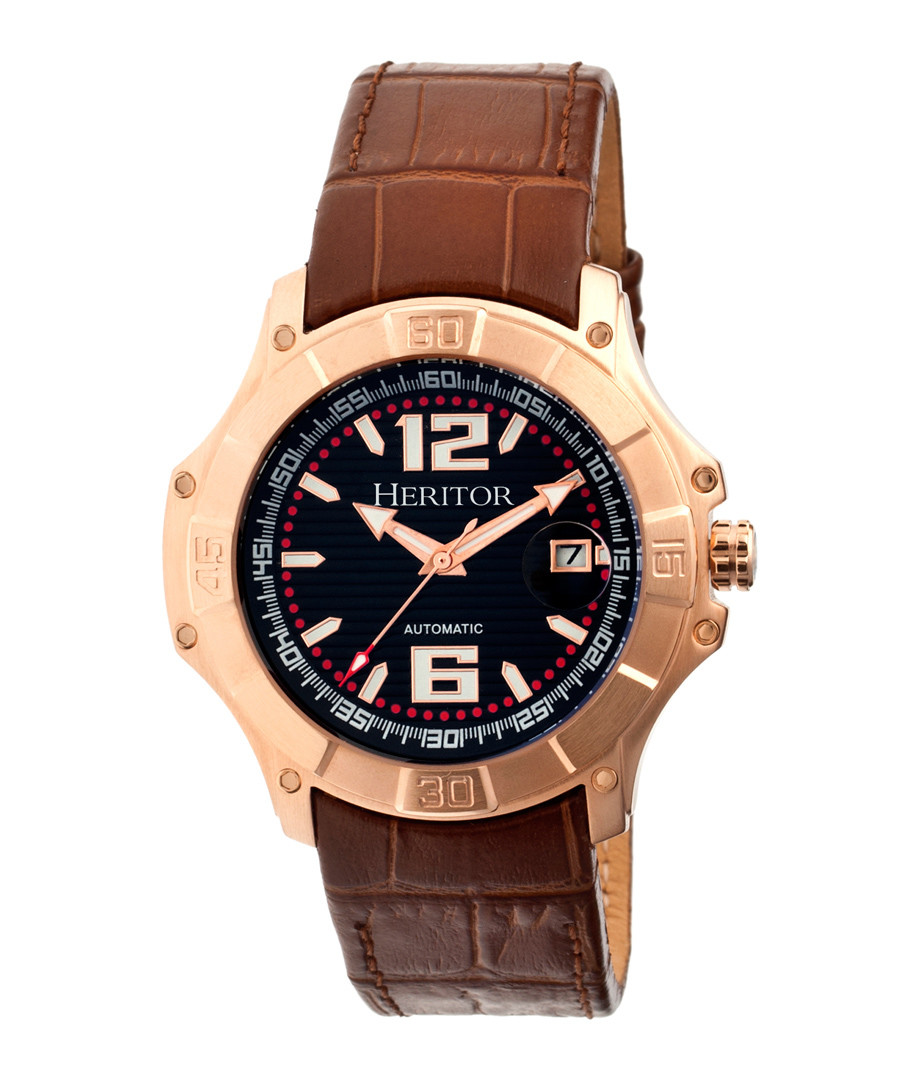 Norton brown moc-croc leather watch Sale - heritor automatic