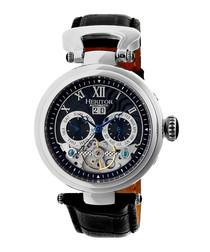 Ganzi silver-tone leather watch