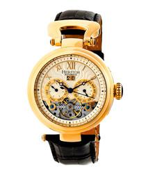 Ganzi gold-tone & black leather watch