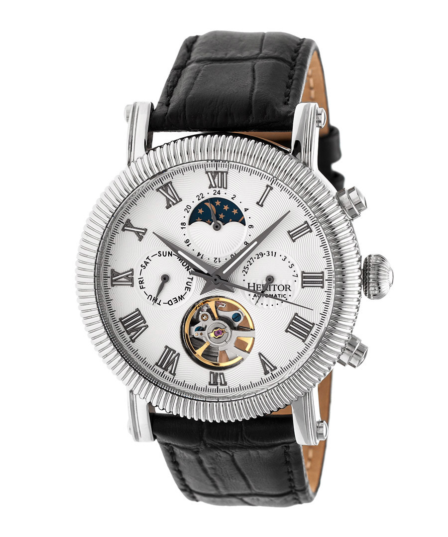 Winston silver-tone leather watch Sale - heritor automatic