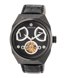Oxford black moc-croc leather watch