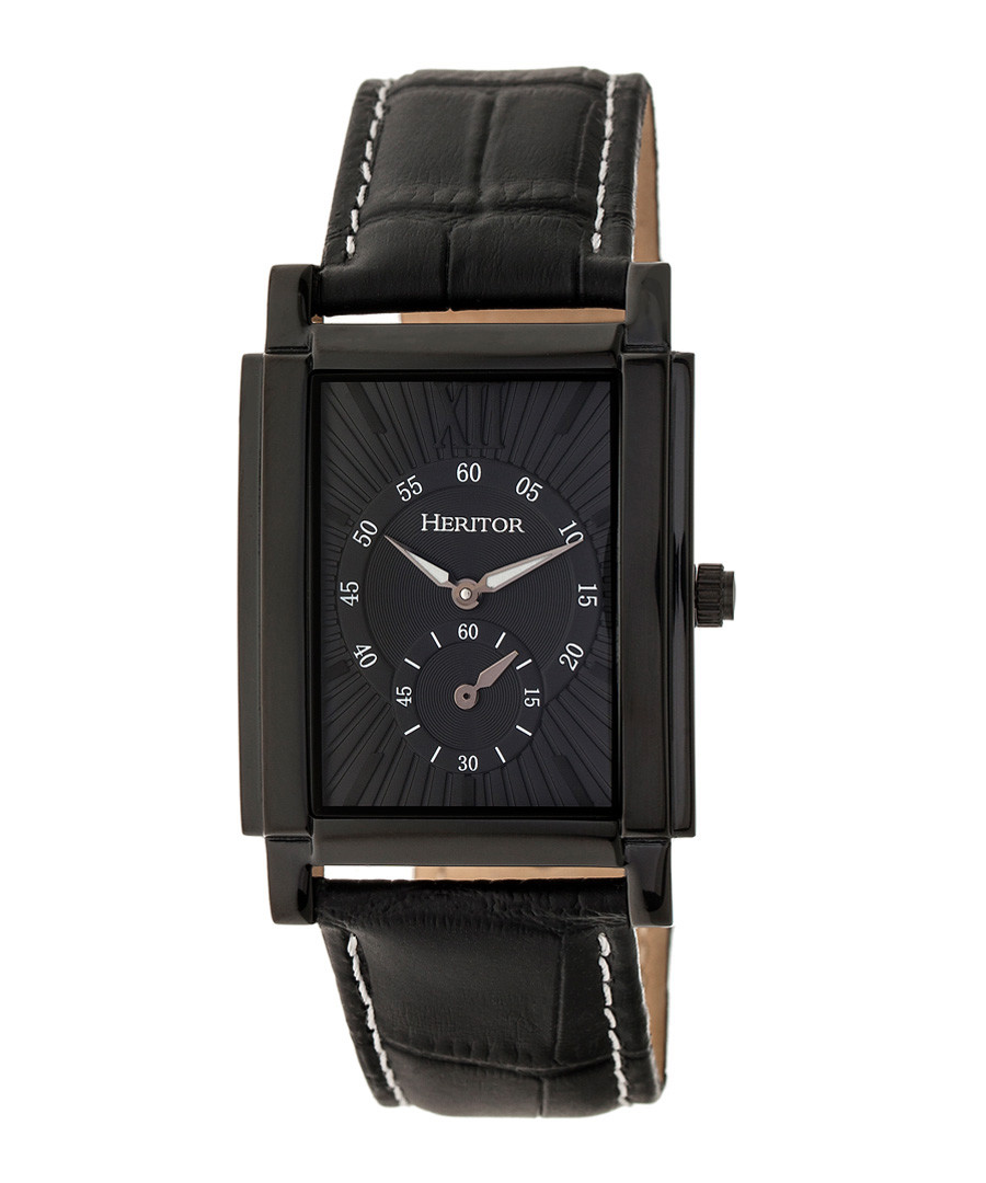 Frederick black steel square watch Sale - heritor automatic