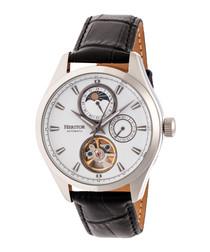 Sebastian black moc-croc leather watch