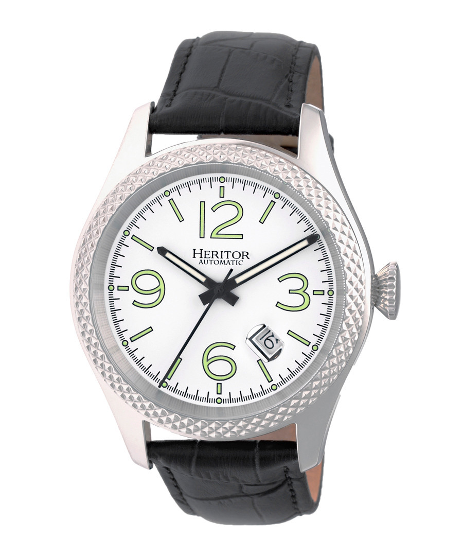 Barnes silver-tone & black leather watch Sale - heritor automatic