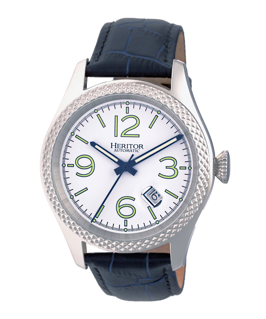 Barnes silver-tone & navy leather watch Sale - heritor automatic
