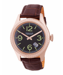 Barnes dark brown moc-croc watch