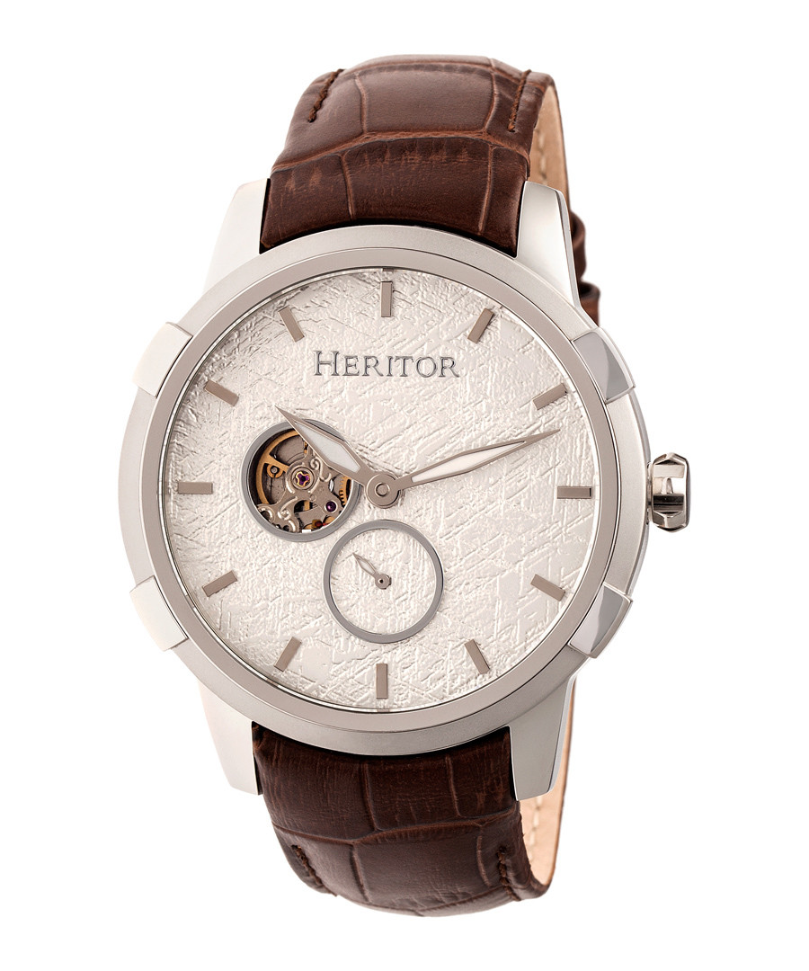Callisto brown moc-croc leather watch Sale - heritor automatic