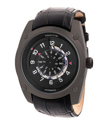 Daniels black moc-croc leather watch