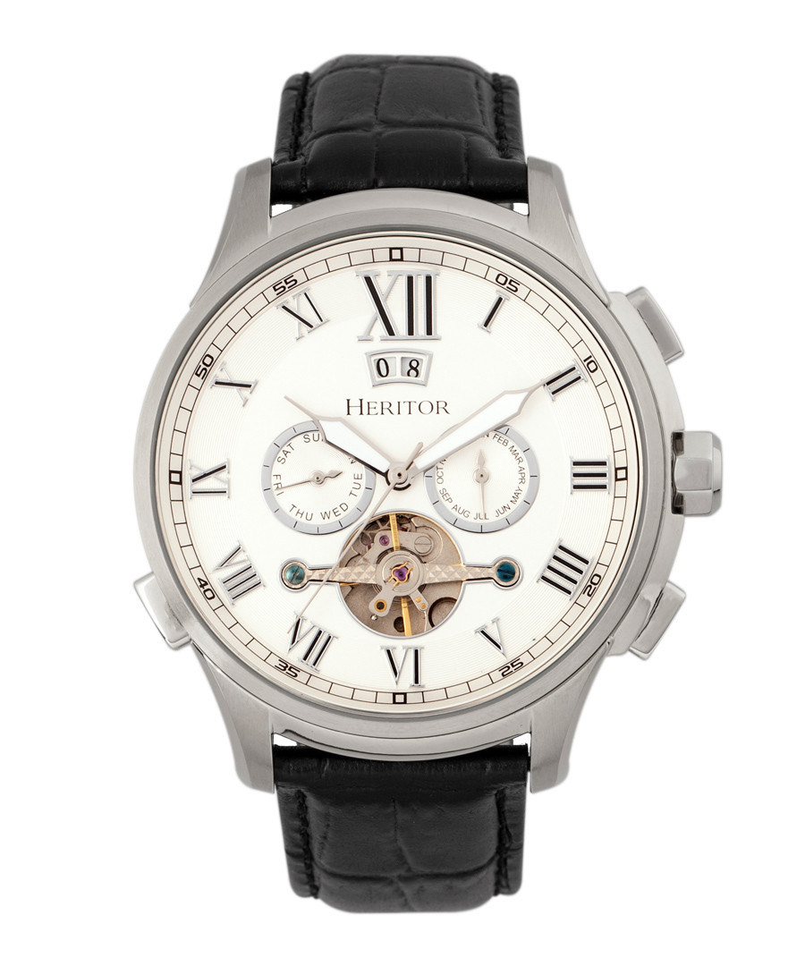 Hudson silver-tone & black leather watch Sale - heritor automatic