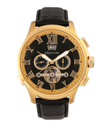 Hudson gold-tone & black dial watch