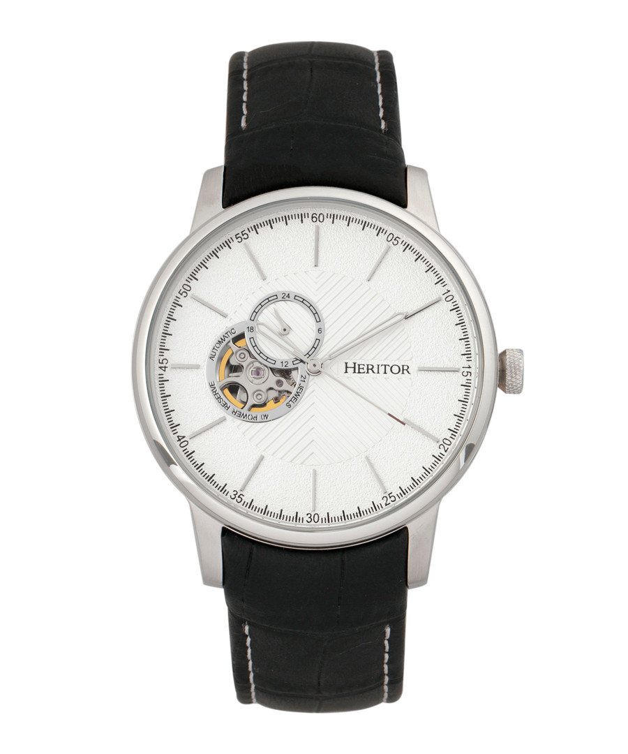 Landon silver-tone & black watch Sale - heritor automatic