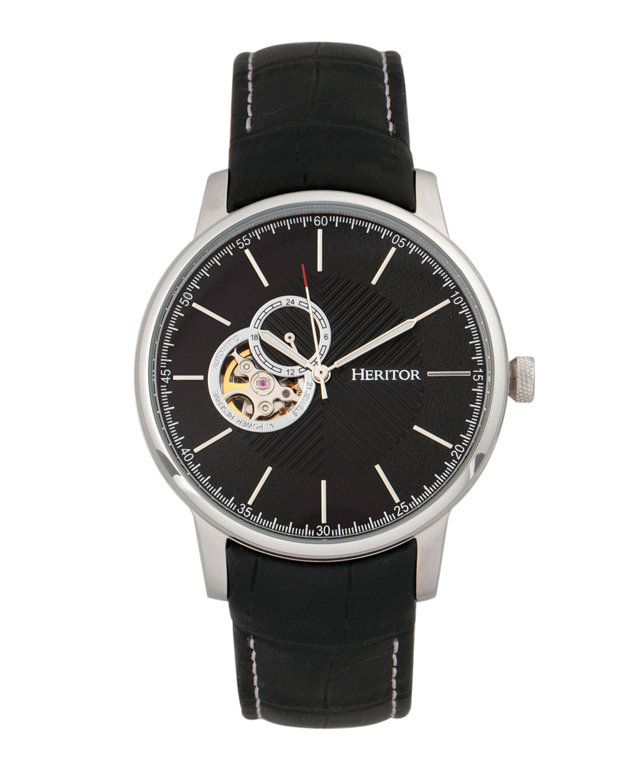 Landon silver-tone leather watch Sale - heritor automatic