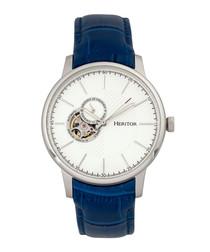 Landon blue moc-croc leather watch