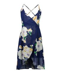 Blue floral print strappy wrap dress