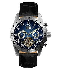 Galactique blue & black leather watch
