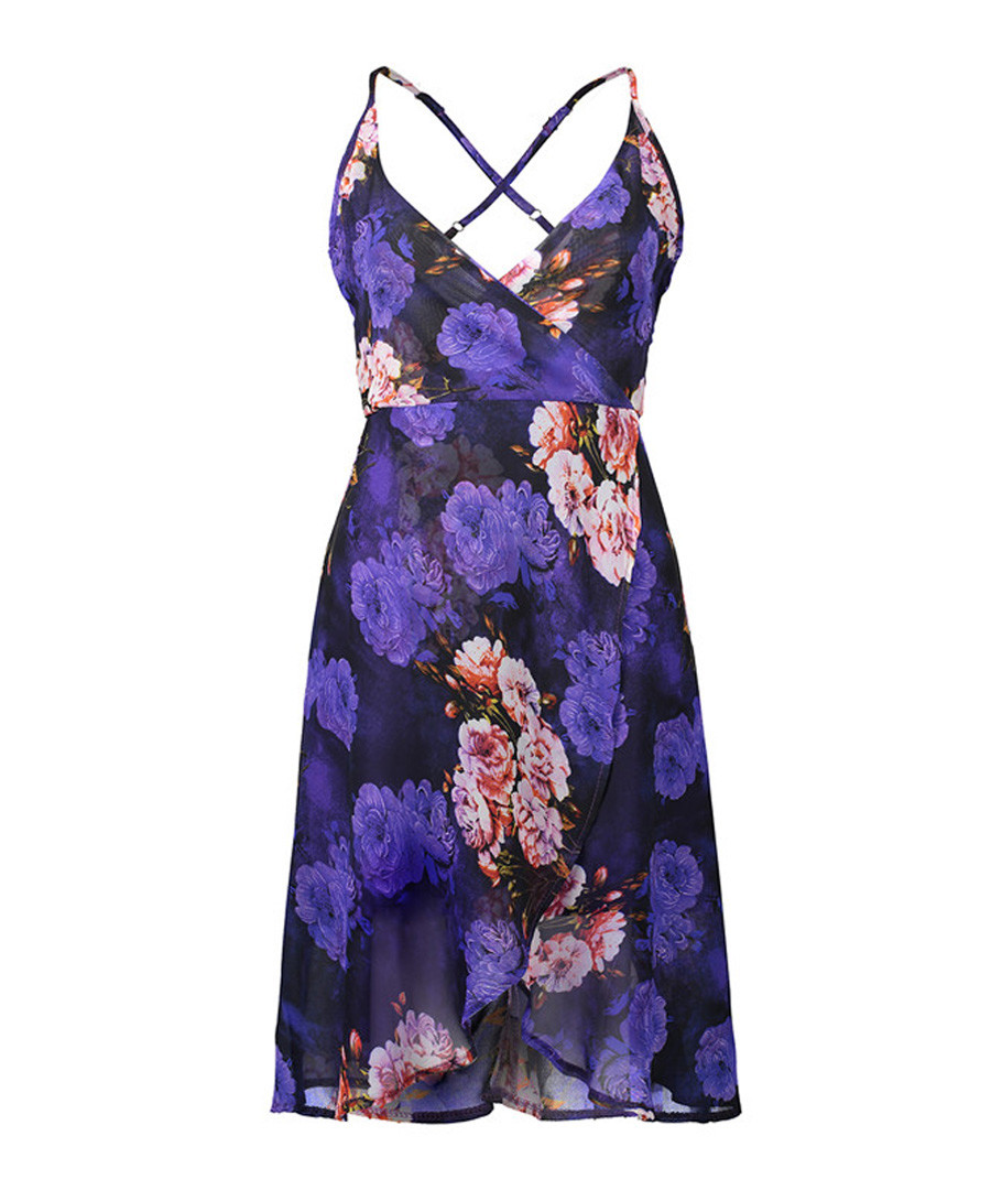 Purple floral print strappy wrap dress Sale - liva girl