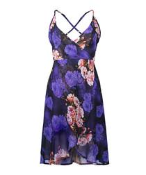 Purple floral print strappy wrap dress