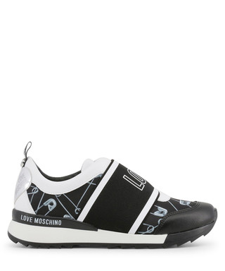 a2cb92757 Black & white logo safety pin sneakers Sale - love moschino Sale