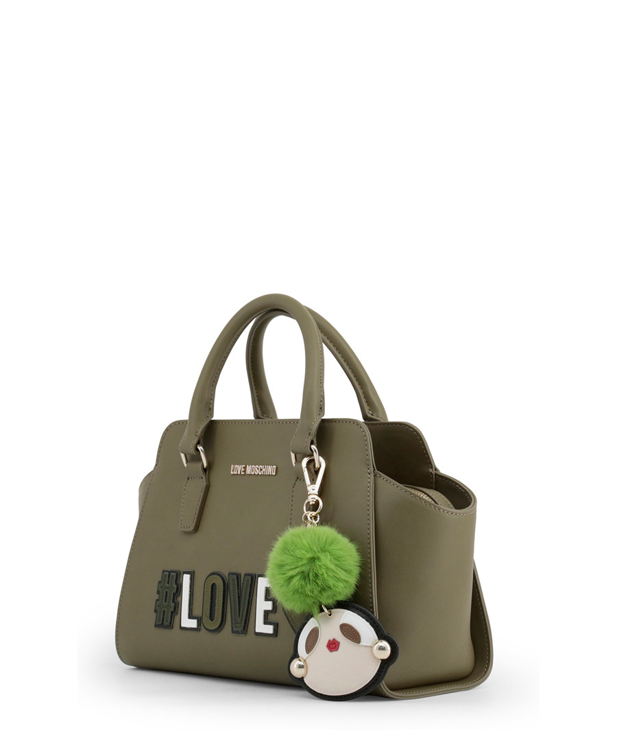 b53351a92d6 ... Green patch motif trapeze grab bag Sale - love moschino