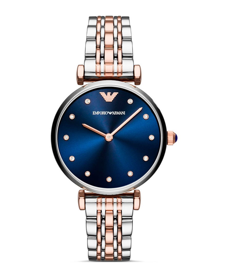 Rose gold-tone & blue dial watch Sale - Emporio Armani
