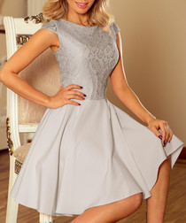 Grey capped sleeve lace mini dress