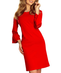 Red lace trim bell-sleeve A-line dress