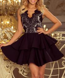 Black sleeveless lace tiered dress