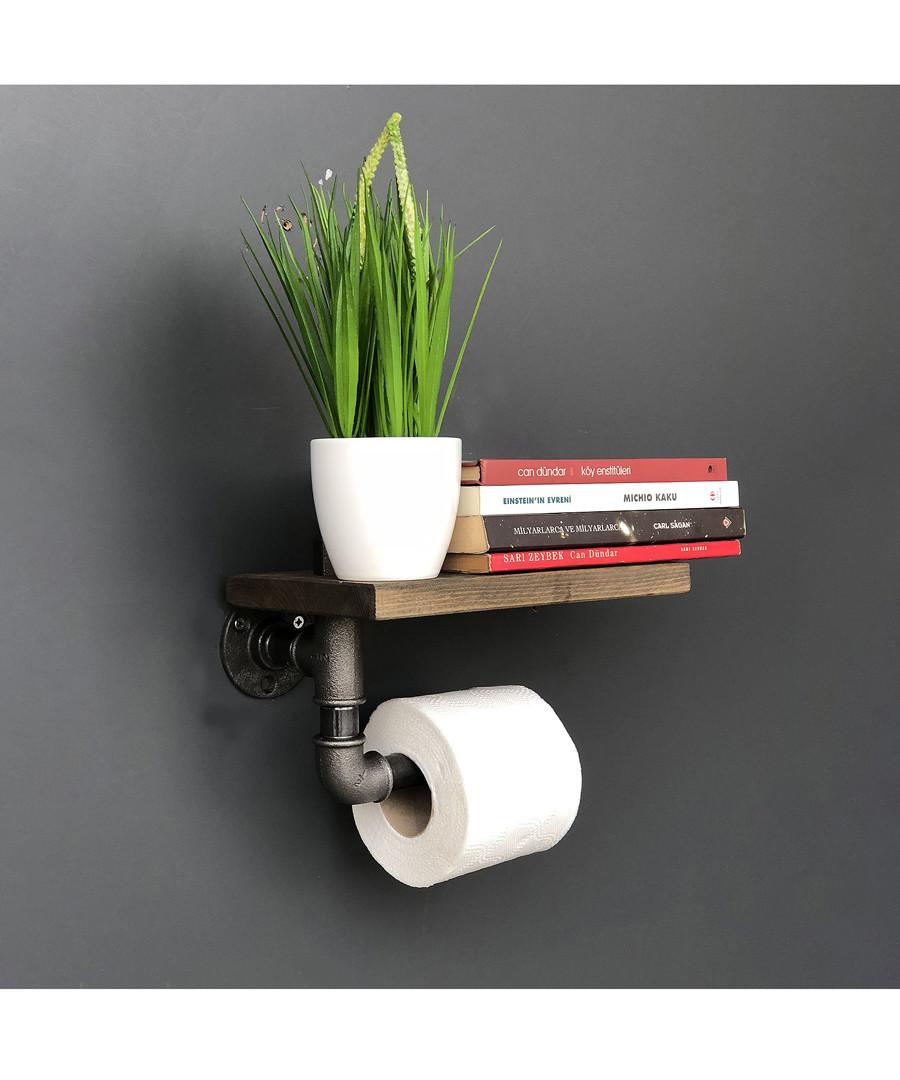 Industrial Pipe wood wall shelf Sale - Pandora