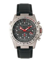 M36 black leather moc-croc watch