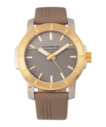 M54 beige leather numberless watch