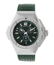 M55  silver-tone & green leather watch