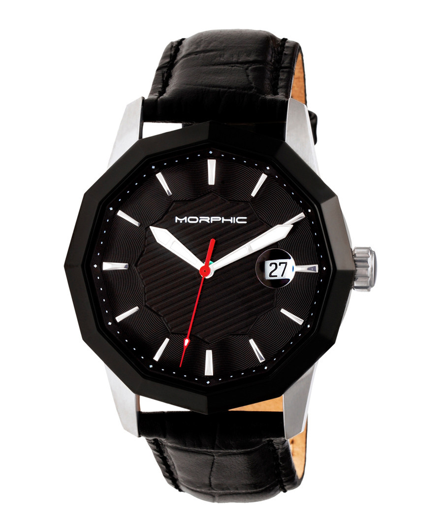 M56 silver-tone & black leather watch Sale - morphic