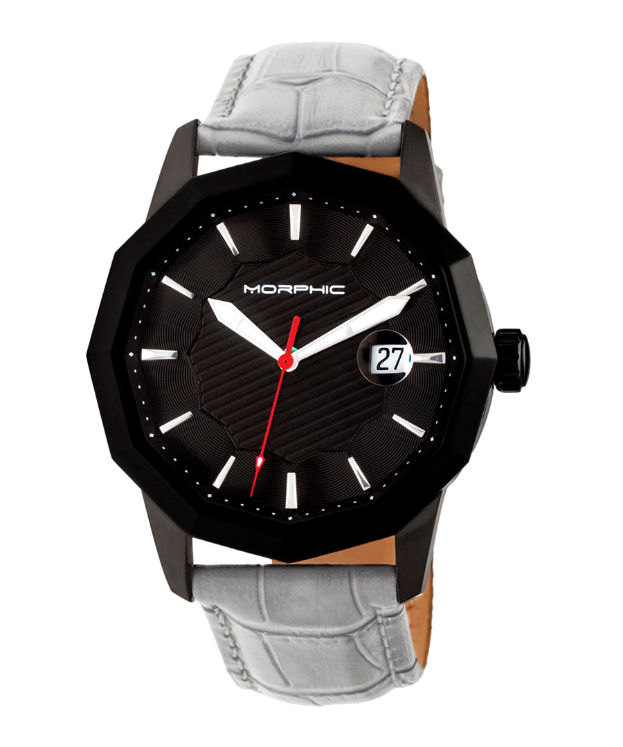 M56 black & grey leather moc-croc watch Sale - morphic
