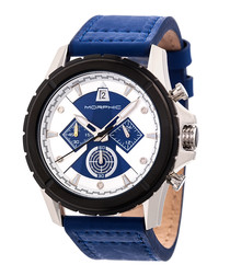 M57 silver-tone & blue leather watch
