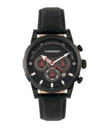 M60 black leather moc-croc watch