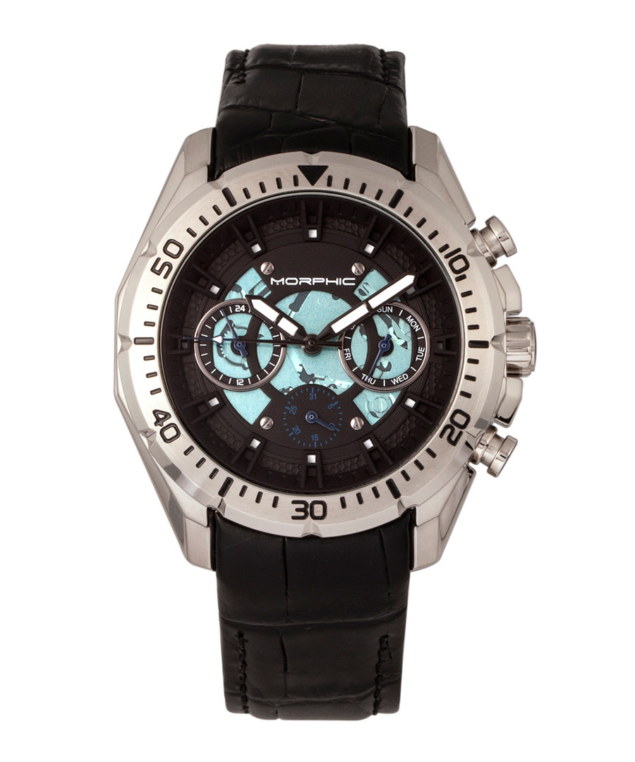 M66 silver-tone & black leather watch Sale - morphic