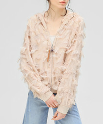 Nude textured zip-up jacket