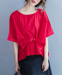 Red cotton blend knot blouse